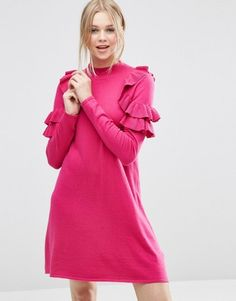 Shop Now - >  https://api.shopstyle.com/action/apiVisitRetailer?id=606932718&pid=uid6996-25233114-59 ASOS Sweater Dress with Ruffle Shoulder  ...