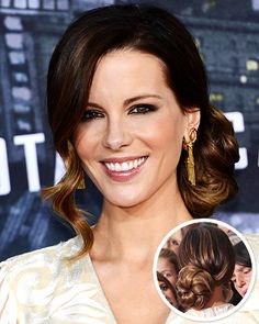 Totally crushing on Kate Beckinsale's Retro Side Bun. This romantic look is a hot hair trend for fall