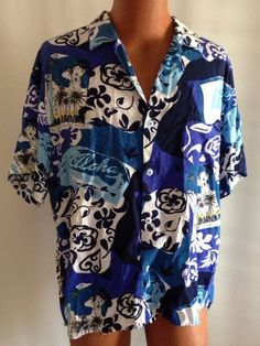 Jams World Shirt L Mens Royal Hawaiian Hotel Blue Aloha Palm Trees Camp Beach #JamsWorld #Hawaiian