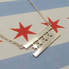 Chicago Flag Silver Necklace Pendant  Chicago State by yhtanaff
