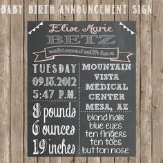 Chalkboard Baby Birth Stats Printable Sign