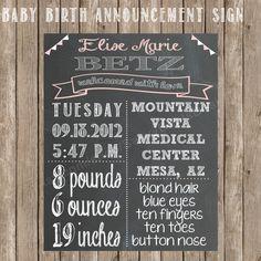 Chalkboard Baby Birth Stats Printable Sign - Newborn Stats Chalkboard Sign