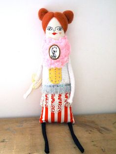 SALE Cloth art doll hand crafted display doll by JessQuinnSmallArt