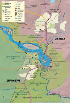 Victoria Falls and vicinity Map - zambia Africa Map, Africa Travel, South Africa, Chobe National Park, Safari, Tourist Map, Life Map, Victoria Falls, Travel Companies