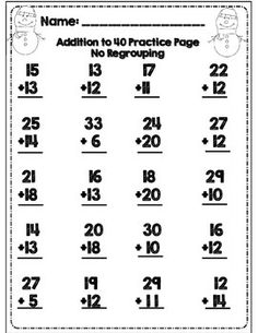 Double Digit Subtraction Worksheet: 5 different double