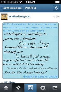 """Helicopters and blue food in Tartarus. --> """"and call it our wedding cake"""" This makes me both happy and terribly sad at the same time"""