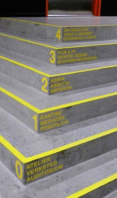 This interior design example makes use colour, style and layout to make it appear as a sequence. By having the text written on separate stairs, automatically lays out the text and forms a sequence, from bottom to top. The same yellow colour, font, style and layout of numbers and letters adds to the sequential form already conveyed by the layout, where each level has the same appearance but conveys different information, contributing to the idea of a graphic sequence.