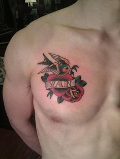 See more tattoo ideas on http://tattoosaddict.com/swallow-heart-with-rose-tattoos-on-chest-081.html Swallow Heart With Rose Tattoos On Chest 081 - http://goo.gl/lrdxX9 #081, #Chest, #Heart, #HeartTattoos, #On, #Rose, #Swallow, #Tattoos, #With