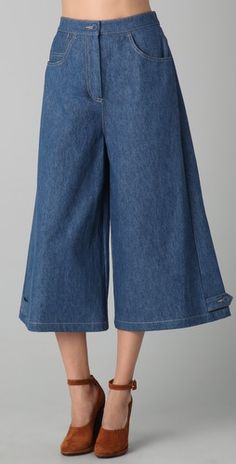 Cropped Wide Leg Denim Pants | Denim pants, Pants and Ties
