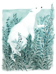 Fun little illustration. The polar bear is so cute! Vikki Chu Illustration/Watercolour