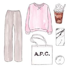 Good objects - Rainny day Wide leg pants @therow , Pink sweatshirt @davidjulien , A.P.C bag @apc_paris , Marble case @casescenario + frapuccino #goodobjects #apc #marble #frapuccino #illustration...