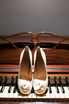 My wedding shoes on my mother's piano.