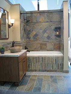 The Tile Shop: mongolian desert slate and pebble bath... with rock sink