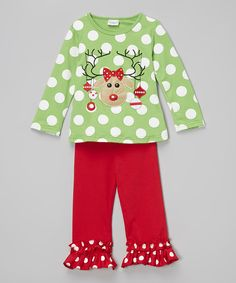 Love this Lime Green Reindeer Top & Ruffle Pants - Infant, Toddler & Girls by The Princess Pea on #zulily! #zulilyfinds
