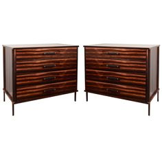 Ebony, leather, and oiled bronze dressers