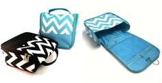 Planning for your big trip?  Get a head start with this stylish chevron patterned cosmetic bag loaded with convenient organizational features. The zippered flap folds up to reveal a hook for hanging your bag from door handles, in closets, or anywhere that you need a fantastically organized and space saving set up.  Inside you'll find two zippered pouches, two mesh pouches and four stretchy loops for keeping everything in place on your travels. Made from easy to clean and durable…