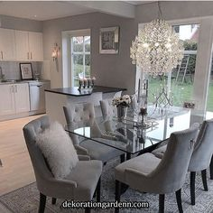 chairs - 124 outstanding dining room table decor ideas page 8 Dining Room Table Decor, Elegant Dining Room, Luxury Dining Room, Dining Room Design, Living Room Decor, Grey Dinning Room, Dinning Room Ideas, Glass Dining Table, Living Room Sets
