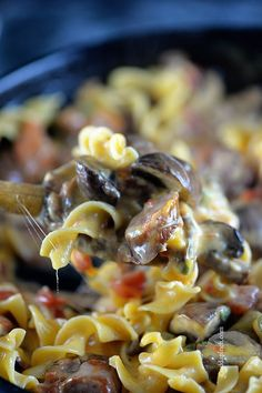 This cheesy mushroom sausage pasta skillet makes a delicious, quick meal. Made with portobello mushrooms, sausage, pasta, and lots of cheese, this one skillet pasta recipe is a people pleaser! addapinch.com