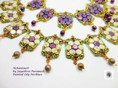 New color combination for Painted Lily Necklace in white.. I am loving the honeycomb beads.