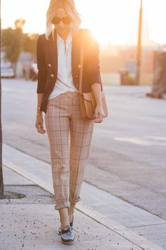 fall / winter - summer outfits - fall outfits - casual outfits - fall outfits - street style - street chic style - business casual - office wear - navy blazer + white shirt + camel plaid ankle pants + black and white oxfords + brown shoulder bag + black sunglasses