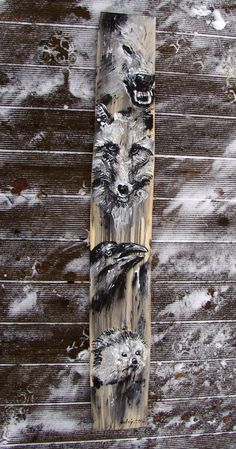 2016.11.3. Totem with wolf, fox, crow and hedgehog acrylic/wood desk, 125x18x2,5 cm https://www.facebook.com/andrey.bovtovich