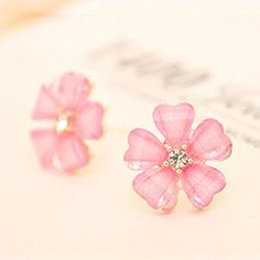 * Penny Deals * - Lovely gift 1pair Elegant Women Silver Plated Flower Crystal Rhinestone Ear Stud Earrings Pink >>> Check out the image by visiting the link.