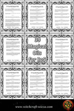 Printable Book of Shadows 8 Pages for Coloring 39 Magic Essential Oils and How to Use Them for Spells- PDFs) Cahier à colorier des ombres imprimable 8 Pages 39 Wiccan Books, Witchcraft Books, Wiccan Spells, Magic Spells, Wiccan Rituals, Hoodoo Spells, Wiccan Symbols, Witchcraft Supplies, Good Luck Spells