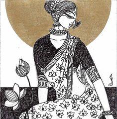 Modern Indian Art, Indian Folk Art, Cool Art Drawings, Art Drawings Sketches, Phad Painting, Indian Art Paintings, Original Paintings, Indian Art Gallery, Rajasthani Art