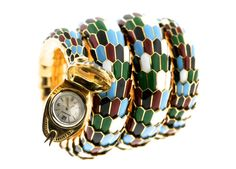 Bulgari Jaeger-LeCoultre Lady's Enamel Gold Serpenti Bracelet | From a unique collection of vintage cuff bracelets at https://www.1stdibs.com/jewelry/bracelets/cuff-bracelets/