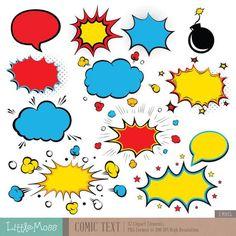 Comic Text Digital Clipart Superhero Text Clipart by LittleMoss