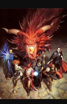 Party of 7 w Adult Red Dragon Underdark by Todd Lockwood Dungeons and Dragons d&d Dungeons And Dragons Art, Dungeons And Dragons, Dnd Art, Dungeons And Dragons Characters, Dungeon, Fantasy Artwork, Red Dragon, Dragon Artwork, Fantasy Dragon