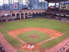 """Houston Astros-Was """"Enron Field"""" when I was there . . . Notice the elevated train above left field?? It really works!"""