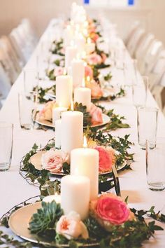 roses and candles succulent wedding centerpiece #weddings #weddingcenterpieces #weddingideas