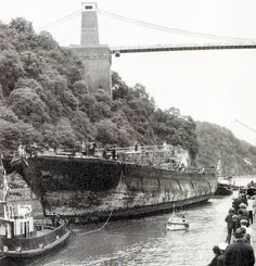 S.S. Great Britain 1970, passing under Brunel's Suspension Bridge
