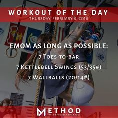 Workout of the Day February 8 2018 EMOM For As Long As Possible: Toes-to-bar Kettlebell Swings Wallballs by: Crossfit Bootcamp, Emom Workout, Boot Camp Workout, Kettlebell Swings, Fitness Motivation, Fitness Workouts, Fitness Nutrition, Hiit, Gymnastics