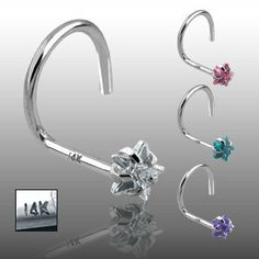 14K White Gold Nose Screw with Clear Star Gem - 20G - Sold Individually WickedBodyJewelz - Nose Studs. $47.96
