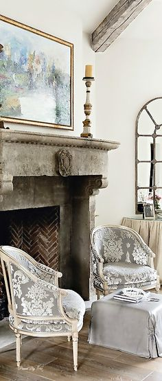 Looking for French Country Living Space and Living Room ideas? Browse French Country Living Space and Living Room images for decor, layout, furniture, and storage inspiration from HGTV. French Interior, French Decor, French Country Decorating, Interior Design, Rustic French, French Grey, Dressing Design, Muebles Shabby Chic, Transitional Living Rooms