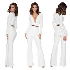 74b28bfd4422  Catalin  White Deep V Jumpsuit. AliyasCouture · Playsuits   Jumpsuits
