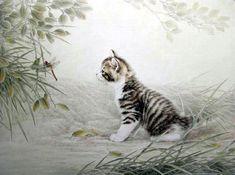 cat and dragonfly - by Xing Chengai [Fu Yuan]