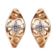 Snowman Lee Hollowed Out Diamond Surrounded By Small Beads 18k Rose Gold Plated Hoop Earrings - http://www.spiritualgemstonejewelry.com/snowman-lee-hollowed-out-diamond-surrounded-by-small-beads-18k-rose-gold-plated-hoop-earrings/