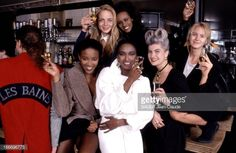 1988 gathering of supermodels  Marie Seznec with Iman, Naomi Campbell, and others (Marie's hair!!)