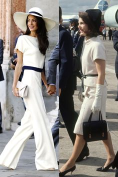 Amal Clooney and Jackie Kennedy in an all white, black-belted, wonderfully immaculate disembarking outfit. Amal Clooney, George Clooney, Fashion Week, Look Fashion, Fashion Outfits, Womens Fashion, Fashion Tips, Fashion Trends, Feminine Fashion