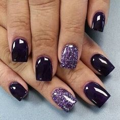 Trendy Purple Nail Art Designs You Have to See Purple Nail Art, Glitter Nail Art, Purple Nails With Glitter, Purple Toe Nails, Nail Art Strass, Dipped Nails, Winter Nails, Fall Nails, Spring Nails