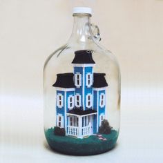 Miniature Victorian House In A Bottle by Dana Mini Art