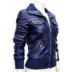 Trendy leather Portland Blue Ladies Women's Bomber Short Washed Real... ($165) ❤ liked on Polyvore featuring outerwear, jackets, blue leather jacket, short jacket, 100 leather jacket, sheepskin bomber jacket and real leather jacket