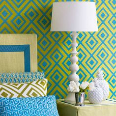 60% yellow-green, 30% blue, 10% white (Fabric on the wall by GP & J Baker)