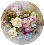 Franz Arthur Bischoff (American, Large charger with a glass bowl of pink and yellow roses, 1900 signed 'Franz A. Bischoff' (lower right edge) and dated 'March (on the underside) and printed mark 'J. France' (on the underside) porcelain diameter: Decoupage Printables, China Painting, Fine Porcelain, Painted Porcelain, Yellow Roses, Flower Art, Creations, Images, Hand Painted