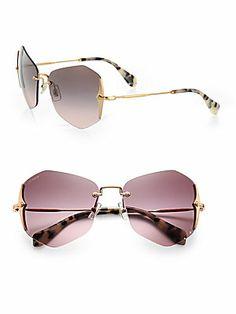 Miu Miu Irregular Rimless Sunglasses