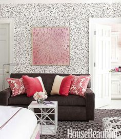 Girl's Room with Personality and Spatter wallpaper from Hinson.