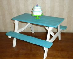 Picnic Table American Girl Doll or 18 inch Doll Kanani blue and white via Etsy.